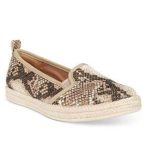 Snakeskin Clarks slip on shoes